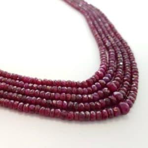 Collar de rubíes naturales de 5 hilos de piedras facetadas
