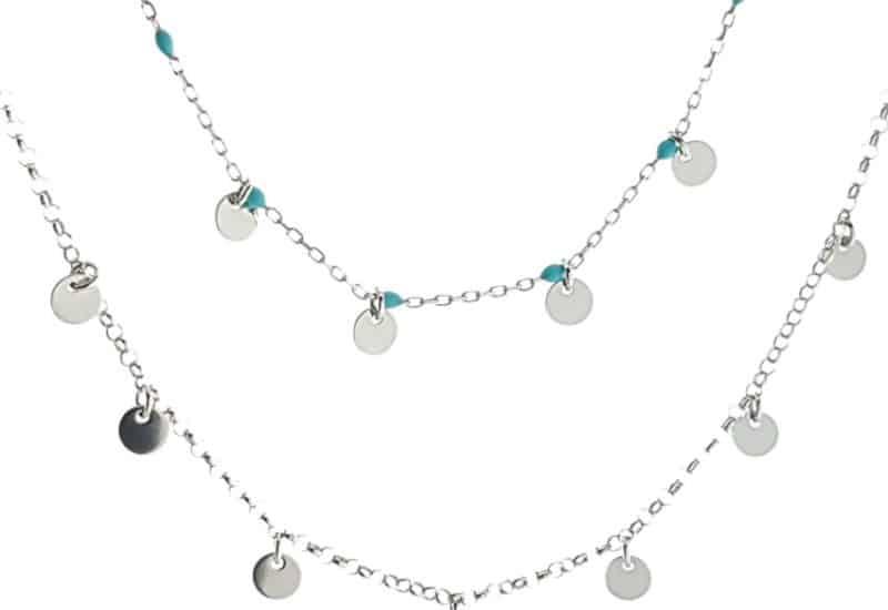 Gargantilla doble de chapas de plata y piedras color turquesa
