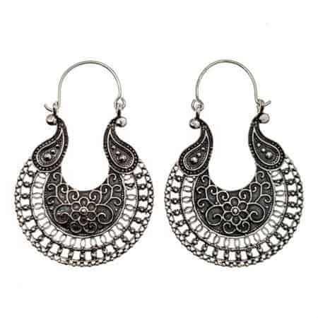 Pendientes étnicos en plata 925, Aros Diseño estilo boho (4)