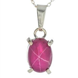colgante plata rubí estrella de Tailandia
