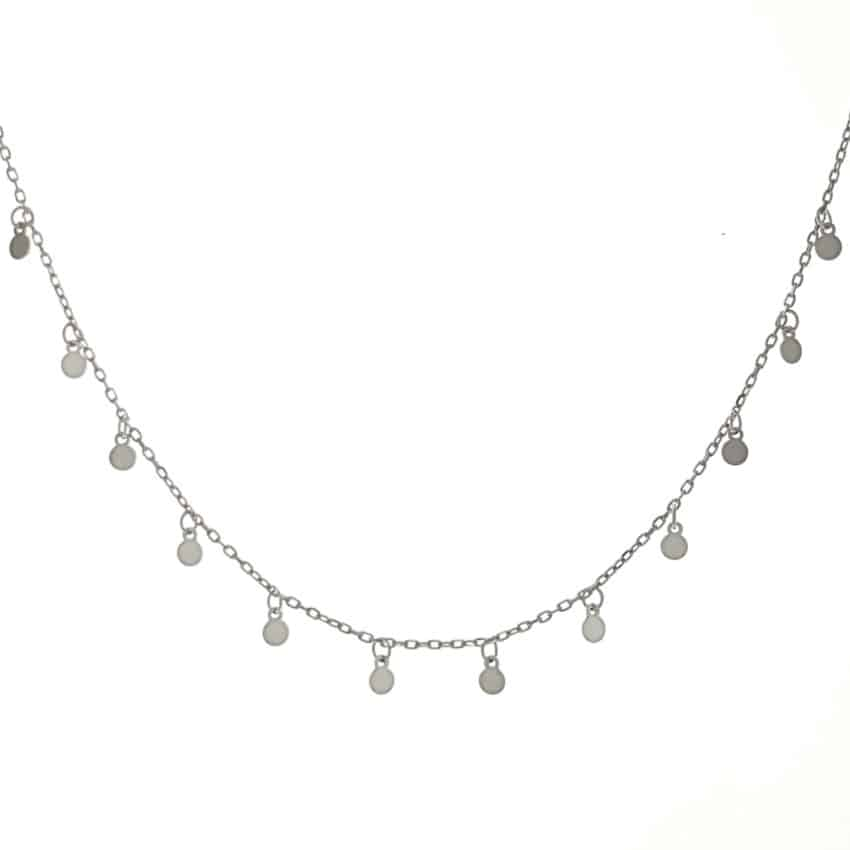 gargantilla collar 12 chapitas de plata de 3 mm (6)
