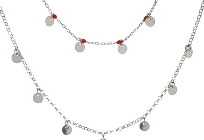 Gargantilla doble de chapas de plata y piedras color rojo