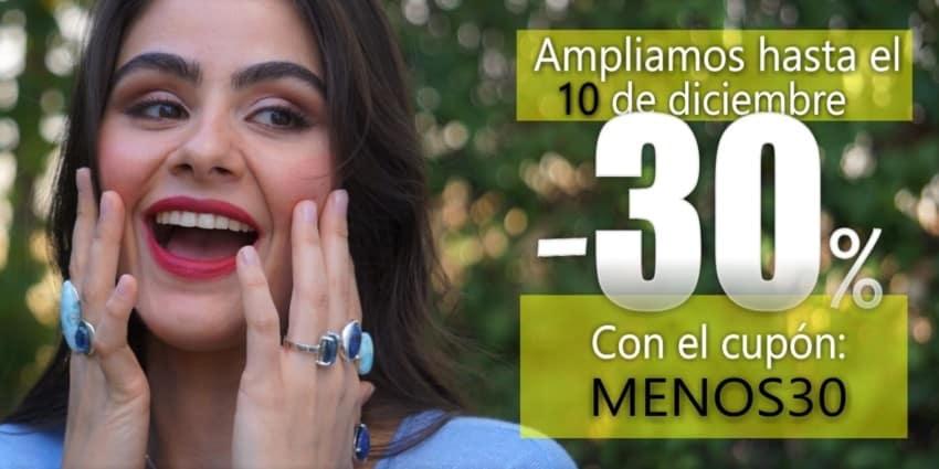 ¡AMPLIAMOS! Descuéntate el 30% con el cupón MENOS30 en tu carrito de compra hasta el 10 de Diciembre (2019)