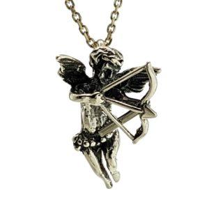 Cupido en plata 925, ángel del amor con arco y flechas