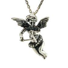 Colgante Cupido en plata tocando el instrumento musical tríángulo (5)