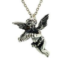 Cupido en plata 925, ángel del amor tocando el acordeón
