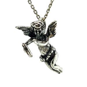 Cupido en plata 925, ángel del amor tocando la pandereta