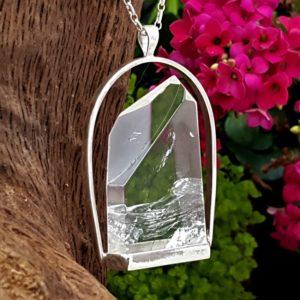 Colgante exclusivo de cuarzo cristal de roca en plata
