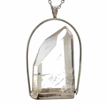 Colgante exclusivo de cuarzo cristal de roca en plata (3)