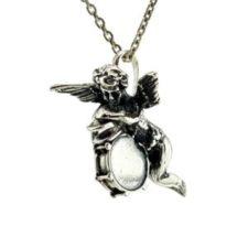 Cupido en plata 925, ángel del amor con tambor y platillos (2)