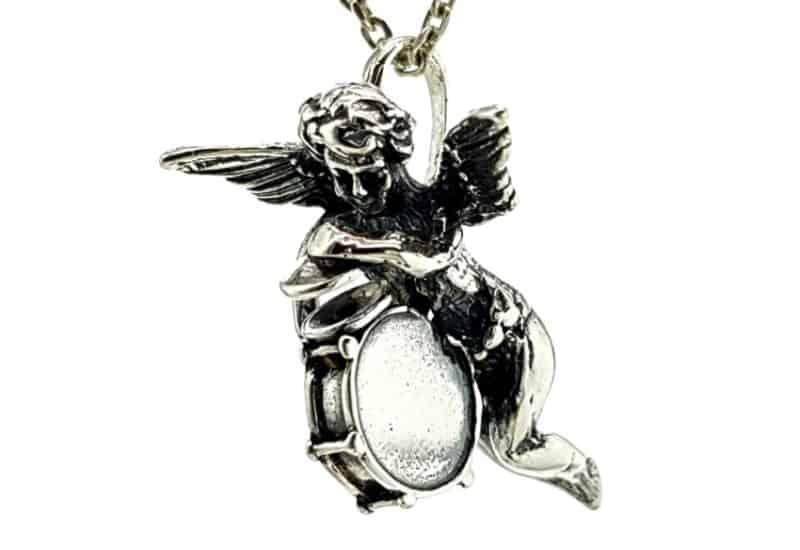 Cupido en plata 925, ángel del amor con tambor y platillos