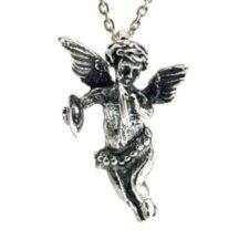 Cupido en plata 925, ángel del amor tocando los platillos