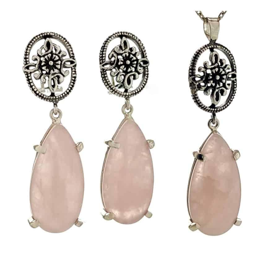 conjunto pendientes y colgante de cuarzo rosa en plata 925 (1)