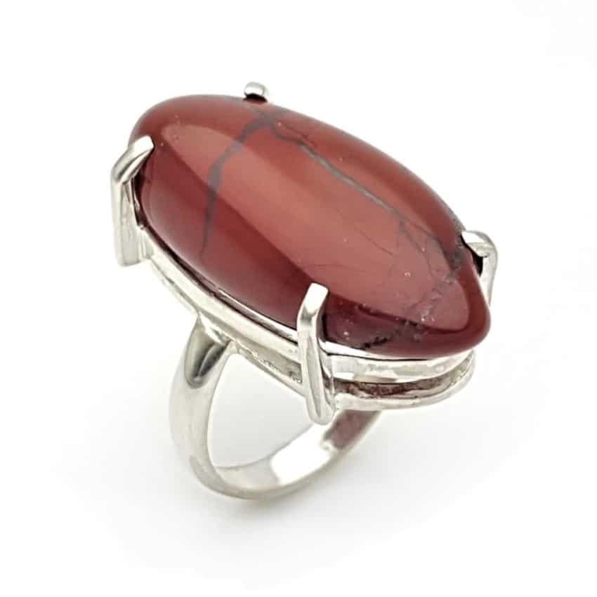 Anillo jaspe rojo diseño en garras en plata