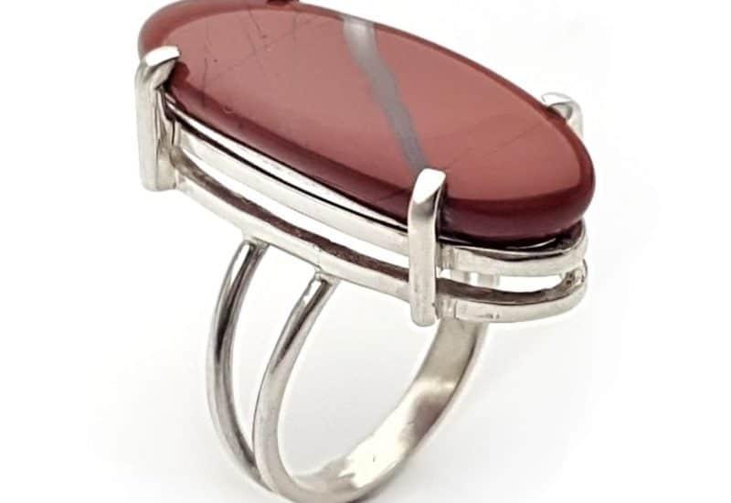 Anillo de Jaspe rojo en plata talla 20