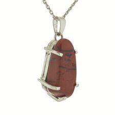 Colgante jaspe rojo diseño 4 garras en plata (2)