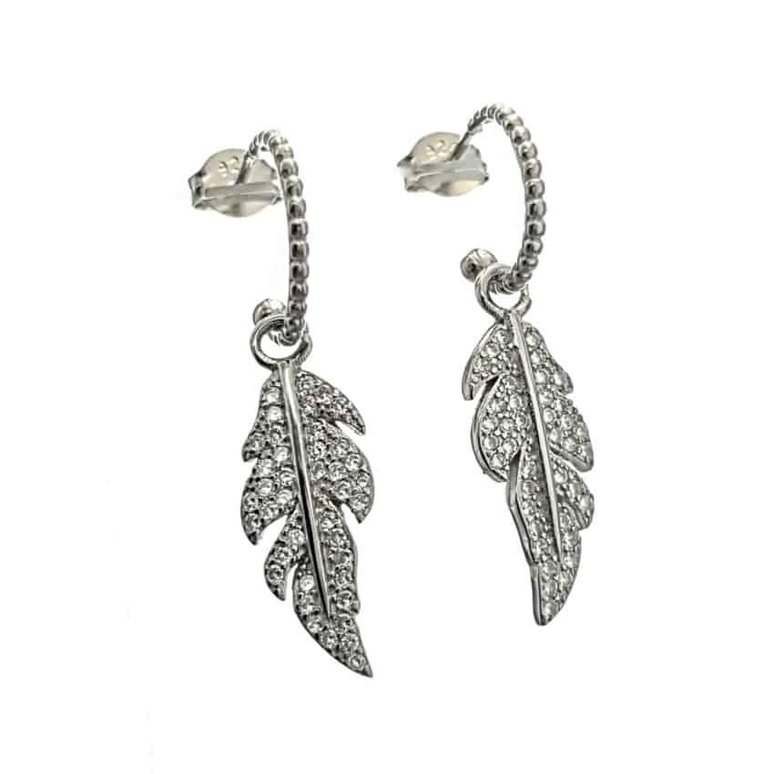 Pendientes plumas de circonitas en plata 925 (2)