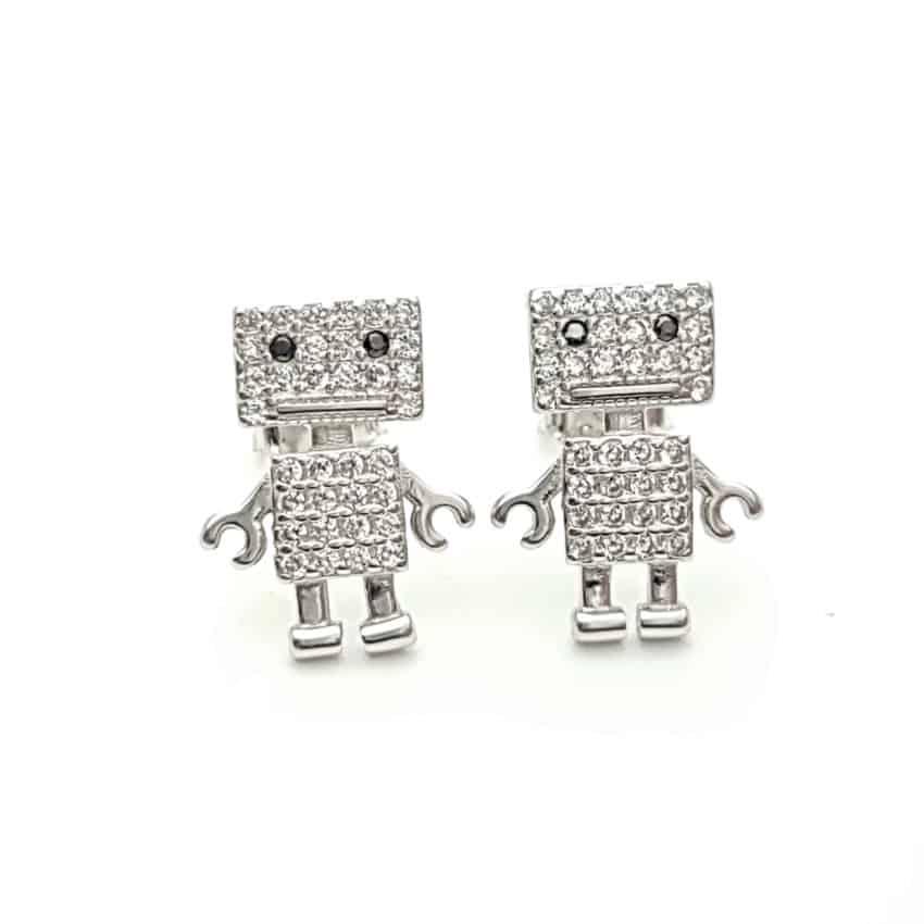Pendientes robot de plata y circonitas (2)