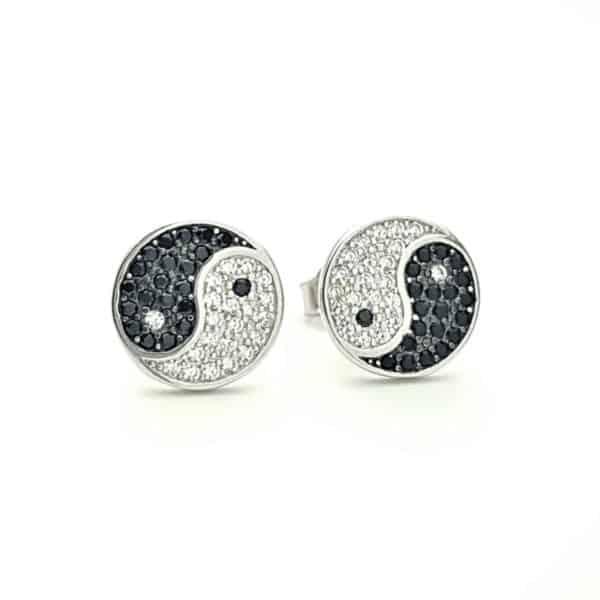 Pendientes símbolo ying yang en plata y circonitas (2)