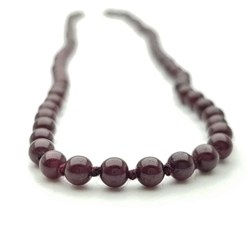 collar de nudos de bolas de granate (3)
