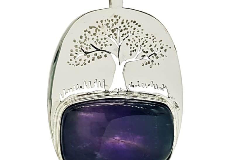 Colgante Cuarzo Amatista y árbol de la vida en plata