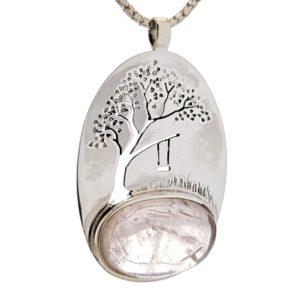 Colgante Cuarzo Rosa con árbol de la vida en plata
