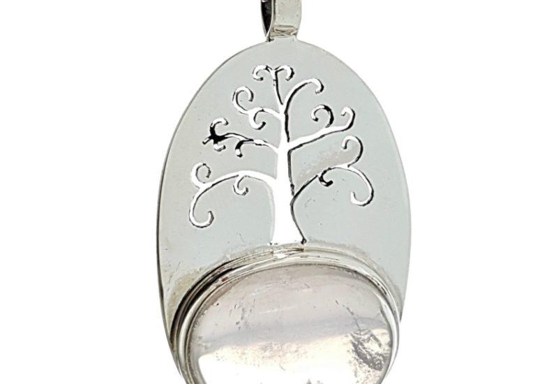 Colgante Cuarzo Rosa con el árbol de la vida en plata