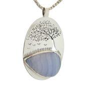 Colgante calcedonia azul y árbol de la vida (2)