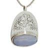 Colgante calcedonia azul y plata con el símbolo del árbol de la vida (3)