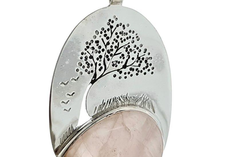 Colgante árbol de la vida en plata y Cuarzo Rosa