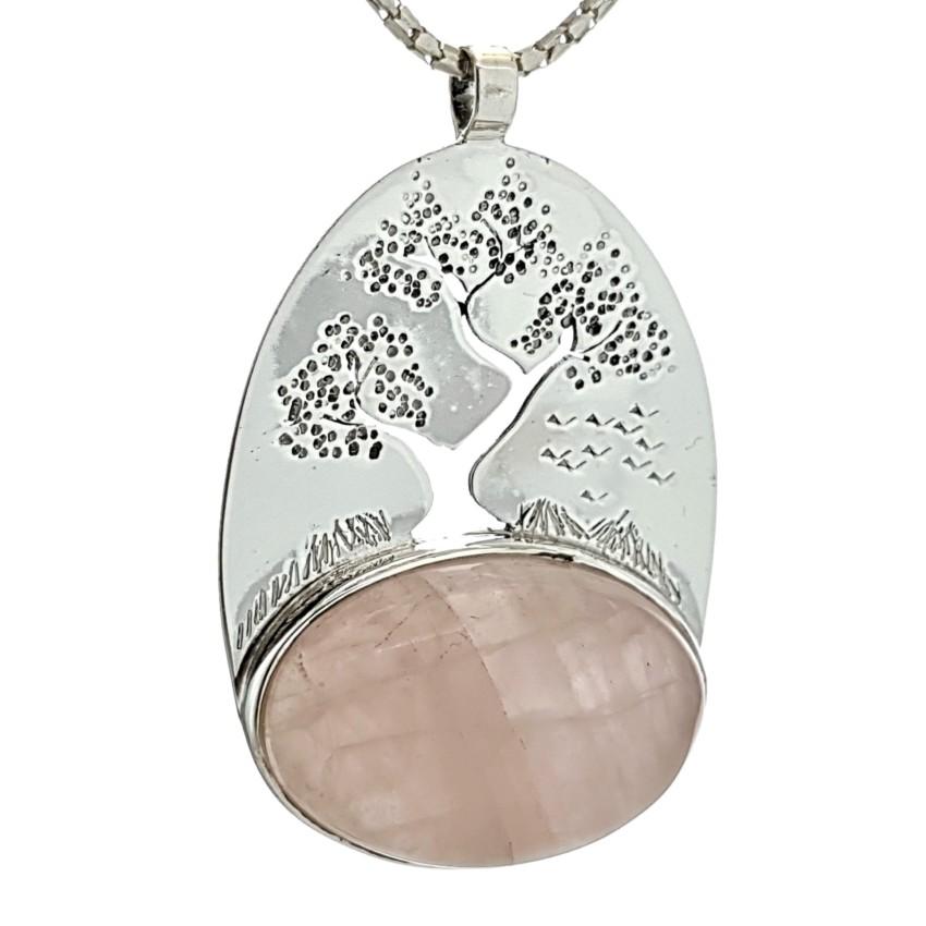 Colgante exclusivo del símbolo del árbol de la vida y piedra de cuarzo rosa (2)