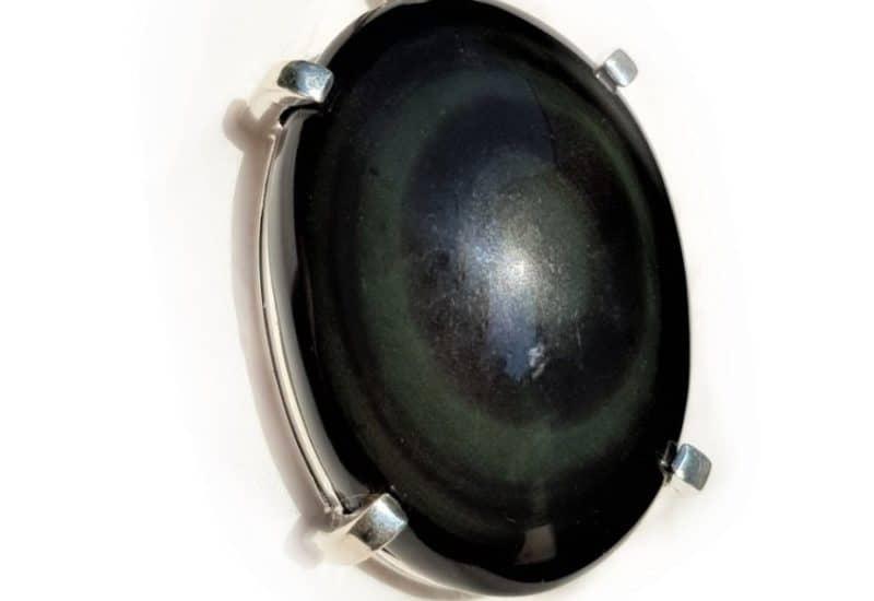Colgante con Obsidiana Arcoíris fabricado en plata de ley