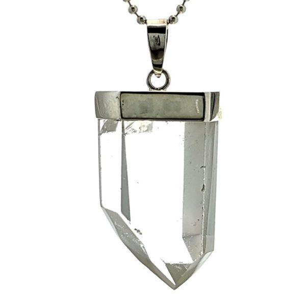 Colgante punta de cuarzo cristal de roca de Brasil en plata 925 (3)