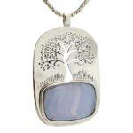 Colgante símbolo árbol de la vida calado en plata con piedra de calcedonia azul (2)