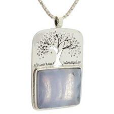 Colgante símbolo del árbol de la vida con calcedonia azul en plata (5)