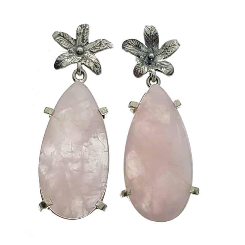 Pendientes flor y lágrima de cuarzo rosa. (2)