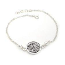 Pulsera del símbolo protector del tetragramatón en plata 925 (1)