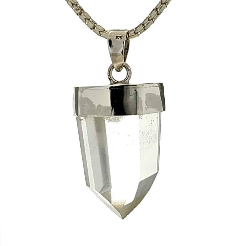 Punta de cuarzo con fantasma en colgante de plata (3)