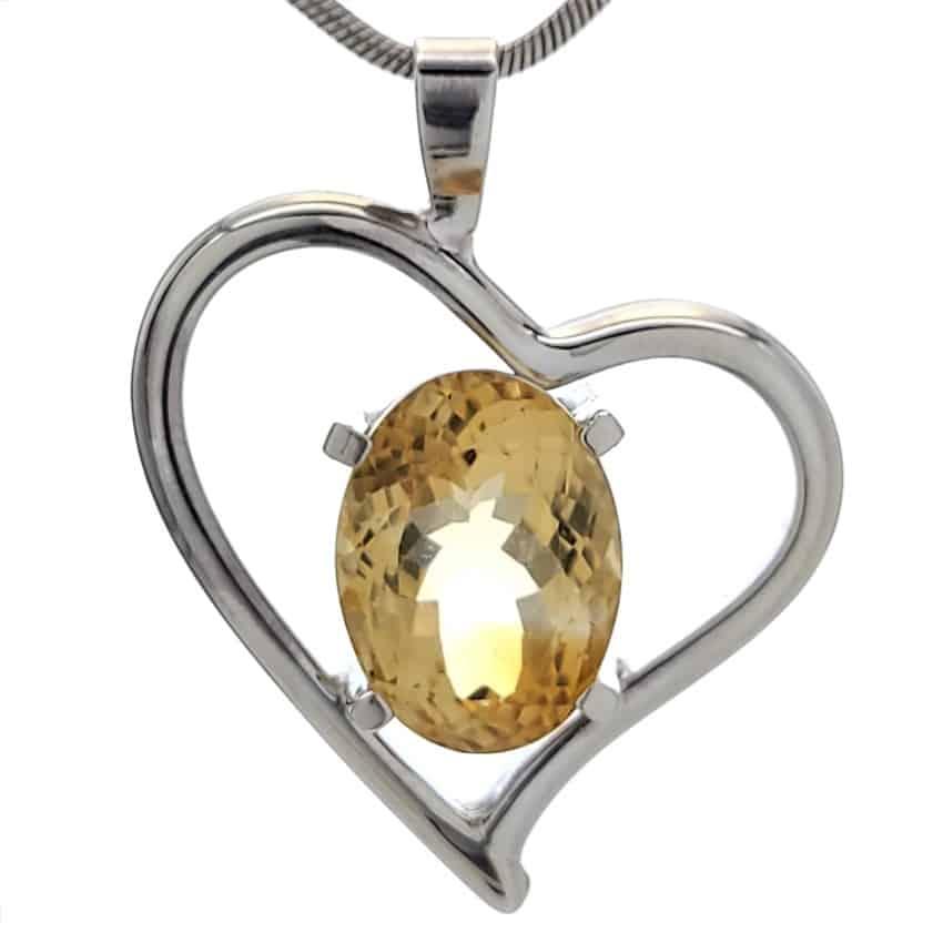 Colgante corazón de plata 925 con piedra natural de cuarzo citrino (4)
