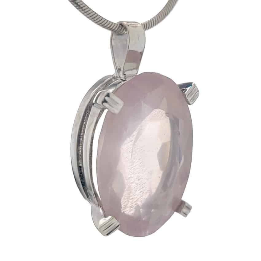 Colgante de cuarzo rosa talla oval en plata 925 (3)