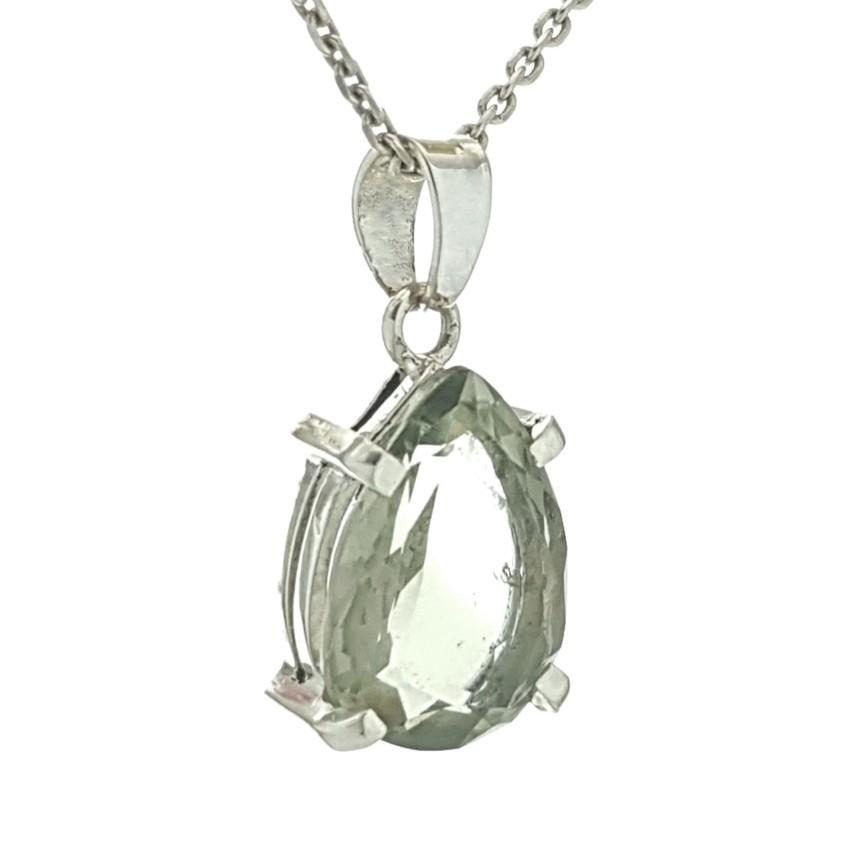 Colgante lágrima de cuarzo prasio en plata (2)