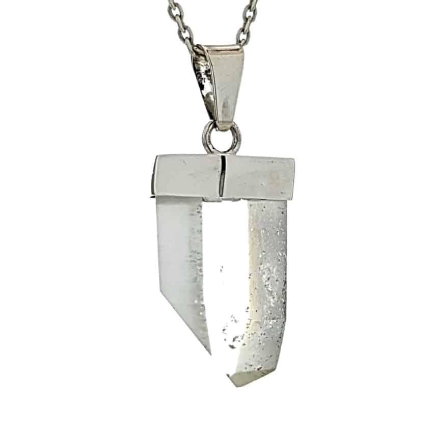 Colgante punta sin tratar de cuarzo en plata 925 n3 (2)