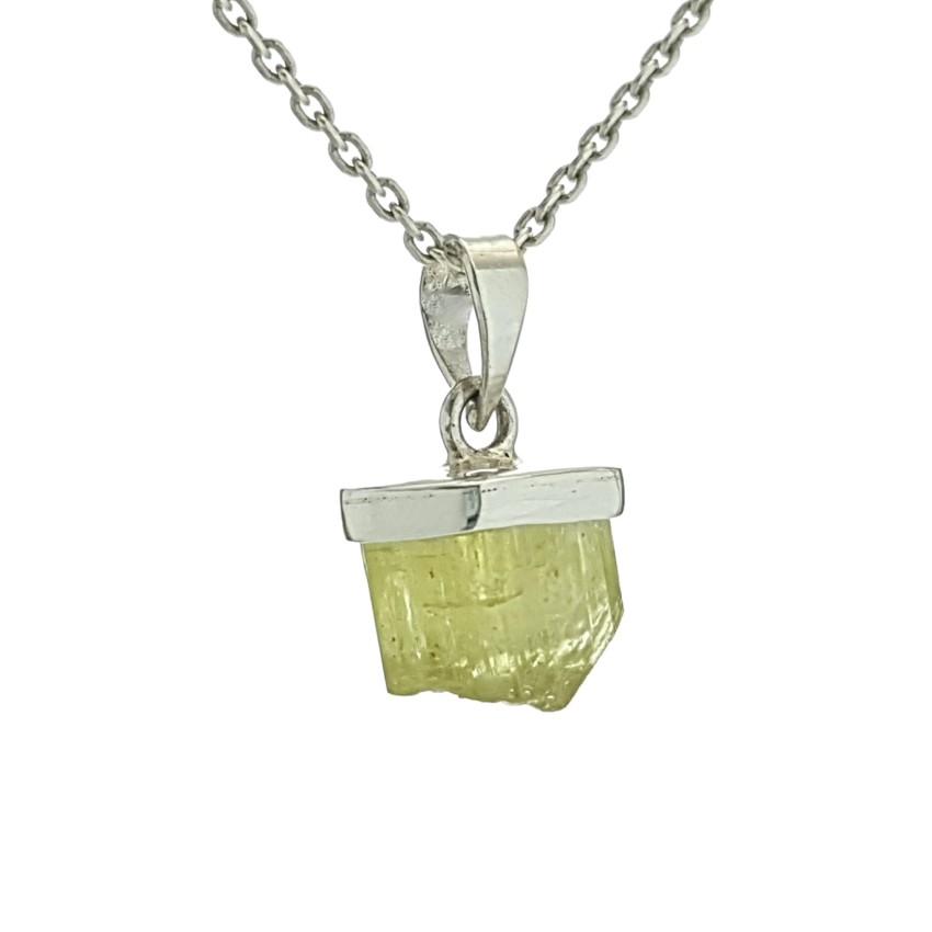Colgante sección cristal natural de apatito en plata (2)