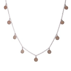 Collar - gargantilla chapas de cuarzo rosa en plata (6)