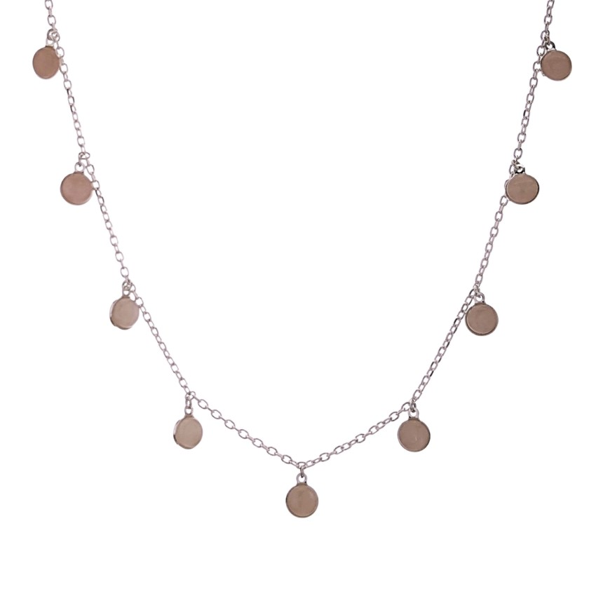Collar – gargantilla chapas de cuarzo rosa en plata (2) – copia