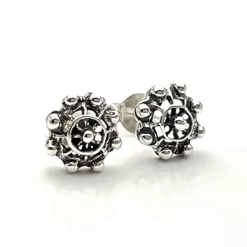 Pendientes botón charro en plata (2)
