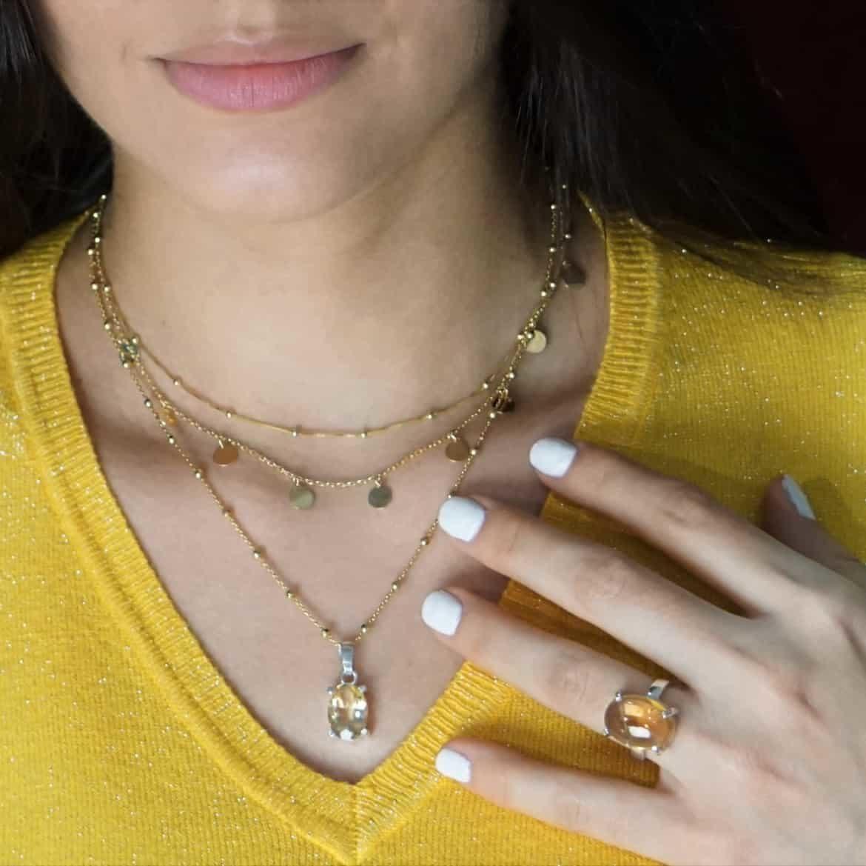joyas de plata bañadas en oro combinadas con cuarzo citrino