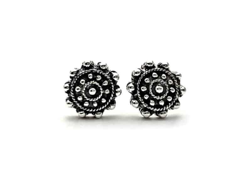 Pendientes diseño botón charro en plata