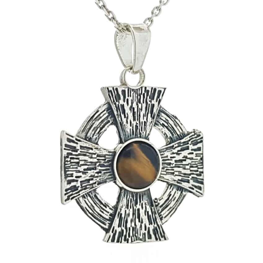 Colgante cruz de Malta con ojo de tigre en plata 925 (3)