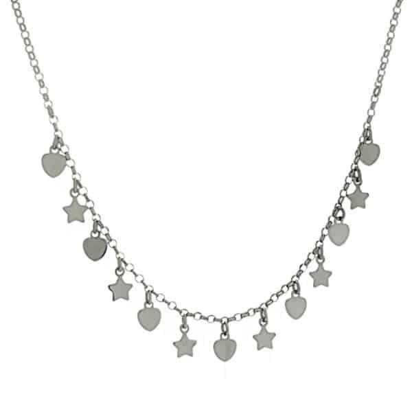 Gargantilla corazones y estrellas de plata (1)